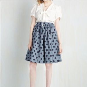 8533371ba8 Modcloth Skirts | Saturday Sojourn Chambray Polkadot Skirt | Poshmark